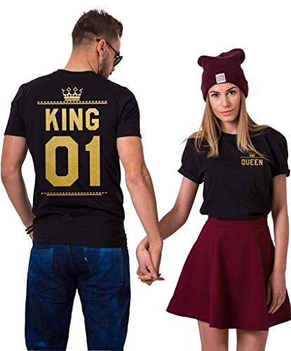 King and Queen Double Print Matching Couples T-Shirts (Black)-XL/M (Cute Couple Shirt Ideas)