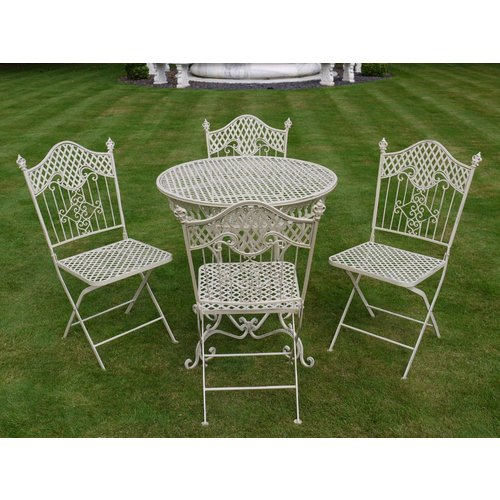 shabby chic antique cream garden furniture wrought iron patio set - Garden Furniture Shabby Chic