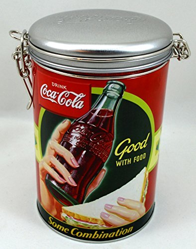 "Coke Round Embossed Lock Top Tin - ""Good with Food"" Design"