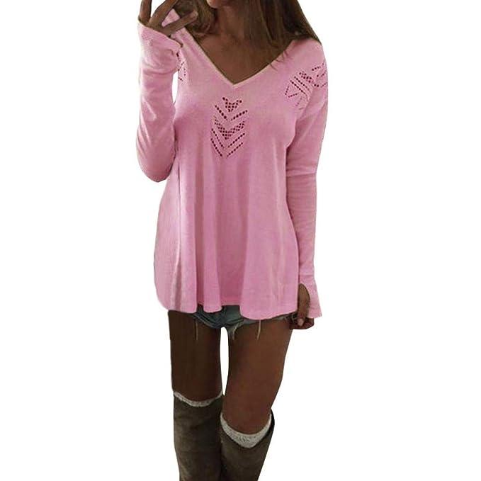 Belasdla Mujer Elegante Camisa De Manga Larga Ropa De Mujer Ocio Color SóLido Escote En V Flor Camiseta Top: Amazon.es: Ropa y accesorios