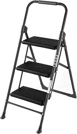 HAIPENG Escalera Plegable Paso Taburete De Escalera Hierro Uso Dual Multi-función Portátil Casa, Negro, 2 Tamaños (Color : Negro, Tamaño : 3 Steps): Amazon.es: Hogar
