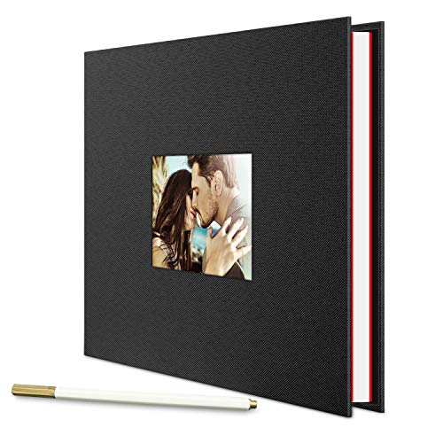 Self Adhesive Photo Album, LUNIQI 40 Pages Linen Hardcover Magnetic Scrapbook, Burlap Cover with Window for DIY Anniversary, Valentines Day, Travel Memory Book,11 x 10.6 inches with A Metallic Pen