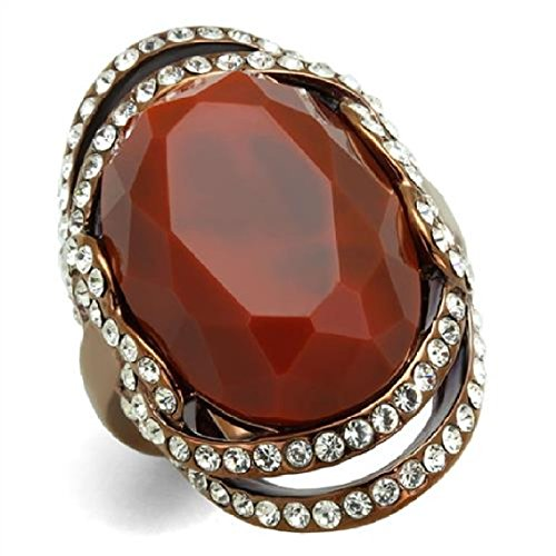Cocktail Orange Ring (Marshal Imports Stainless Steel 22,16 MM Oval Orange Synthetic Resin Cocktail Ring, IP Light Brown (IP Coffee Light), Size 5,6,7,8,9,10 (6))