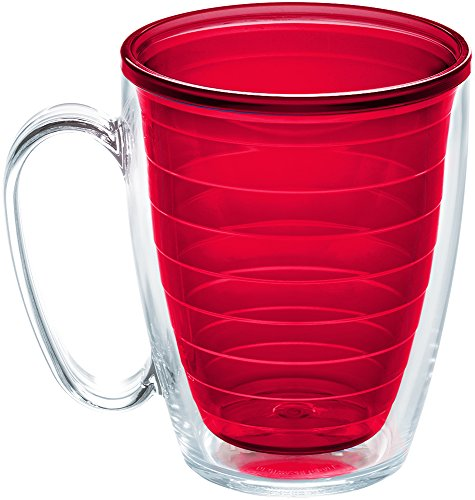 Tervis 1224224 Clear & Colorful Color Collection NA 16oz Mug Red Inner with No Lid, 16 oz ()