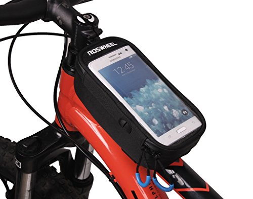 Tofern Neues Design Fahrradtasche Fahrrad Tasche für Mountainbike Rennrad mit PVC Touchscreen und Verlängerungskabel Handy beim Radfahren Bedienbar Super Stabil Wasserdicht Schwarz