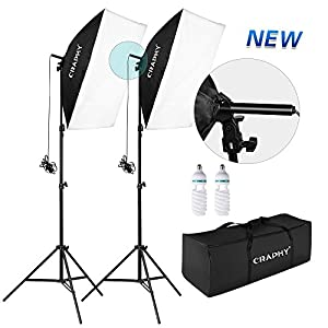"CRAPHY Upgraded 20x28"" Photo Studio Softbox Lights Auto Pop-Up Continuous Lighting Kit for Professional Photography Portrait Video Shooting (700W 5500K Bulbs + 80"" Tall Light Stand)"