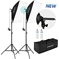 CRAPHY Upgraded 20x28 Photo Studio Softbox Lights Auto Pop-Up Continuous Lighting Kit for Professional Photography Portrait Video Shooting (700W 5500K Bulbs + 80 Tall Light Stand)
