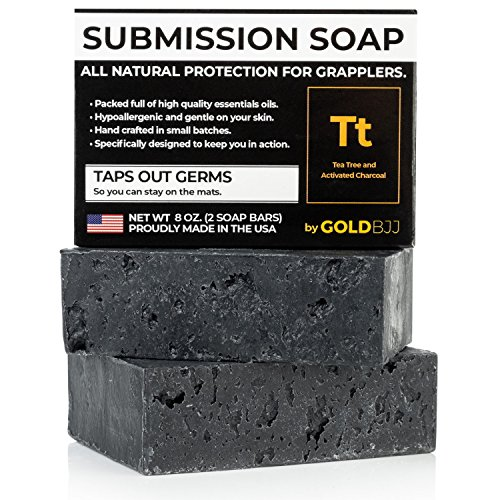 Premium Tea Tree Oil Soap - With Activated Charcoal! 100% All Natural USA Made Bars for BJJ, Jiu Jitsu, Wrestling - Combats Ringworm, Jock Itch, Athletes Foot (2-Pack of 4 Ounce Soap Bars)