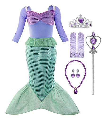 Padete Little Girl Mermaid Princess Costume Sequins Party Dress (3-4 Years, Long Sleeves with Accessories) -