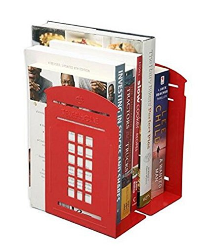 Wendin Newest Creative Cute Vintage Fashion Retro British Style Telephone Booth Bookend Bookends Racks Nonskid Bookends Art Bookend A Pair (Red)