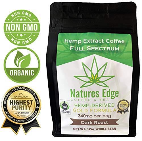 Natures Edge Organic Hemp Coffee, Dark Roast - Whole Bean 12 oz Bag (340 MG)