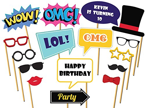 Custom Party Photo booth props - Size 36x24, Personalized speech bubbles props, omg, lol,wow, Emoji photo props, Selfie Birthday Props Party Decorations, Handmade DIY Party Supply Photo Booth Props