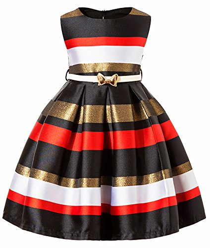 Casual Playwear Beach Holiday Size 4T 5T Summer Dresses for Girls Kids Princess Clothes Cotton Sleeveless Stripe Block Color Big Girl Ruffled Pleated Dress Satin Belt Bow Knee Pleated (Black, 130)