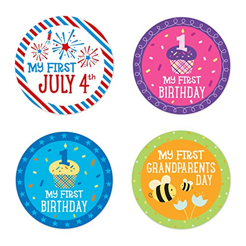 Circle Baby Photo Announcement - Pearhead First Year Holiday Milestone Photo Sharing Baby Belly Stickers with 14 Holidays Included
