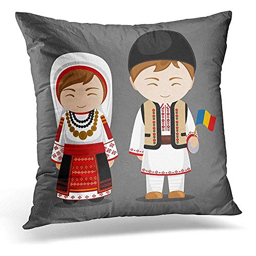 Decorative Pillow Cover Romanians in National Dress with Flag Man and Woman Traditional Costume Travel to Romania People Flat Throw Pillow Case Square Home Decor Pillowcase 18x18 -