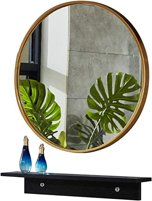 Amazon Com Bathroom Vanity Mirror Wall Mirror With Shelf Round Shower Mirror Vanity Mirror The Mirror Above The Bathroom Sink Color Gold Size 50cm Home Kitchen
