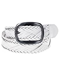 Landes Women's Woven Braided Faux Leather Belt White Medium