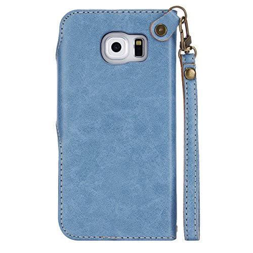 Galaxy S6 Funda,Surakey Retro PU Cuero Funda Folio Carcasa para Samsung Galaxy S6,Galaxy S6 Funda Carcasa Resistente Protectora,Galaxy S6 PU Leather Wallet Case Cover Skin Shell Con TPU Silicona Case  Azul