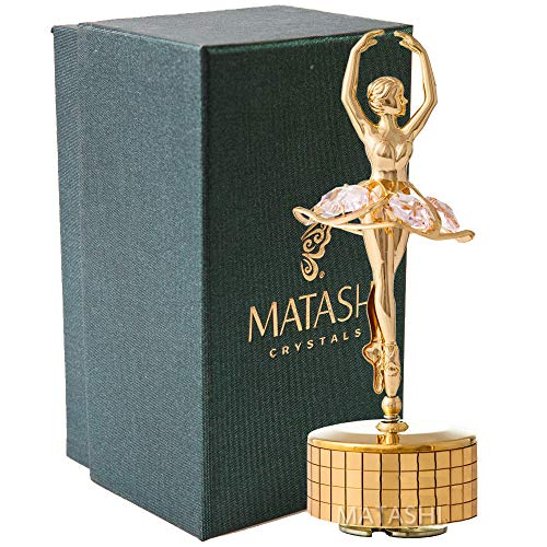 "Matashi 24k Gold Plated Ballet Dancer Wind-Up Music Box ""Swan Lake"" 