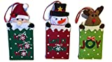 Set of 3 Reusable Holiday Felt Gift Card Holders with hanging silk ribbon
