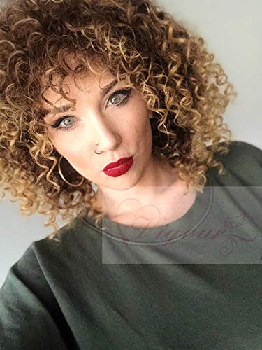 Vigour Beauty Wigs for Black Women Afro Kinky Wig Short Curly Wigs Blonde and Brown Ombre Wig Heat Resistant Fiber 14 with Wig Cap