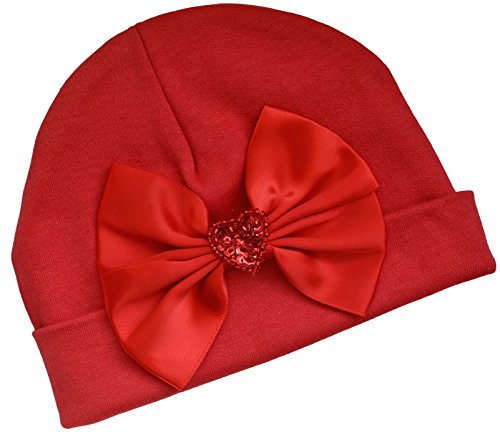 Valentines Day Satin Bow Cotton Baby Hat By Funny Girl Designs (Valentines Day Satin)