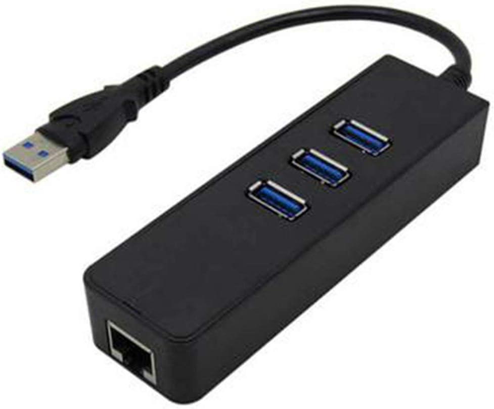 USB 3.0 LAN RJ45 NIC 3 ports USB 3.0 HUB Gigabit NIC U3LC01 Mise /à niveau la vitesse de connexion r/éseau pratique Vie morte