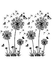 2 stuks zwarte muurtattoo paardenbloemen voor wanddecoratie, XXL grote paardenbloem, bloemen, planten, muurstickers, muurstickers, muurstickers, muurstickers, wandafbeeldingen voor woonkamer, slaapkamer, voorkamer, hal, raam, 165 x 130 cm