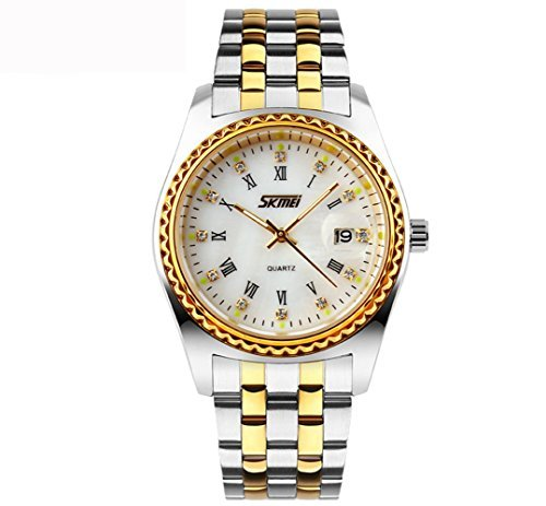Relojes Hombres Lujo De Moda Marca Skmei Reloj Digital Cuarzo Full Acero Buceo Reloj de Pulsera Casual Hombre Blanco: Amazon.es: Relojes