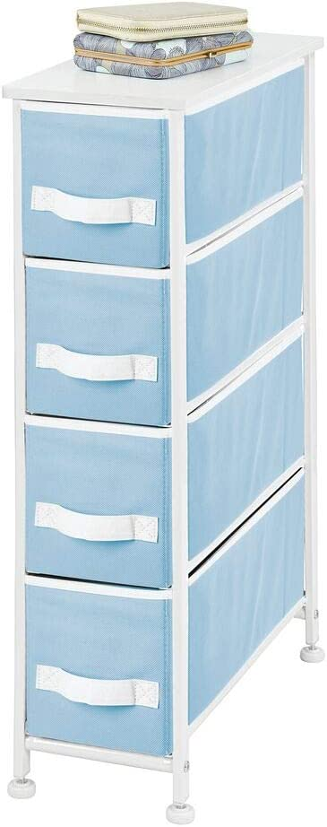 mDesign Narrow Vertical Dresser Storage Tower - Sturdy Metal Frame, Wood Top, Easy Pull Fabric Bins - Organizer Unit for Bedroom, Hallway, Entryway, Closet, 4 Drawers - Light Blue/White