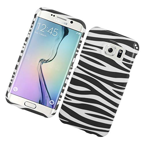 Insten Zebra Rubberized Hard Snap-in Case Cover Compatible with Samsung Galaxy S6 Edge, Black/White