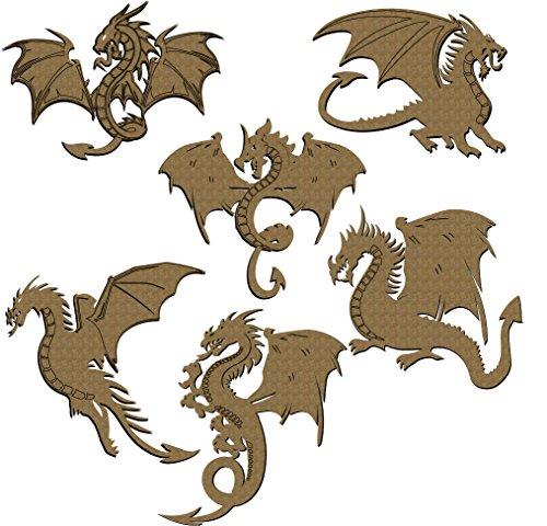 Dragons Scrapbooking Laser Cut Chipboard - 6 Piece Set Kraft Color