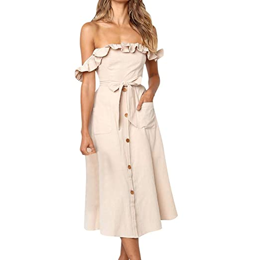 3e1ddd97a329 Image Unavailable. Image not available for. Color  COOKI Women Dresses Teen  Girls Off Shoulder Ruffles Knot Button Midi Dress Summer ...