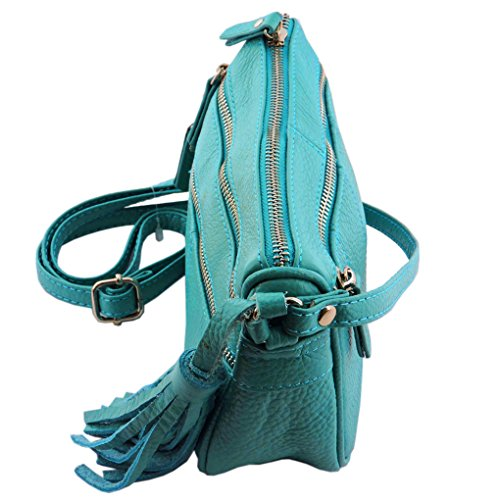 Turquoise Tassel W Body Organizer Shoulder Cross Purse SILVERFEVER Leather Womens Handbag vTwx1q8Zq