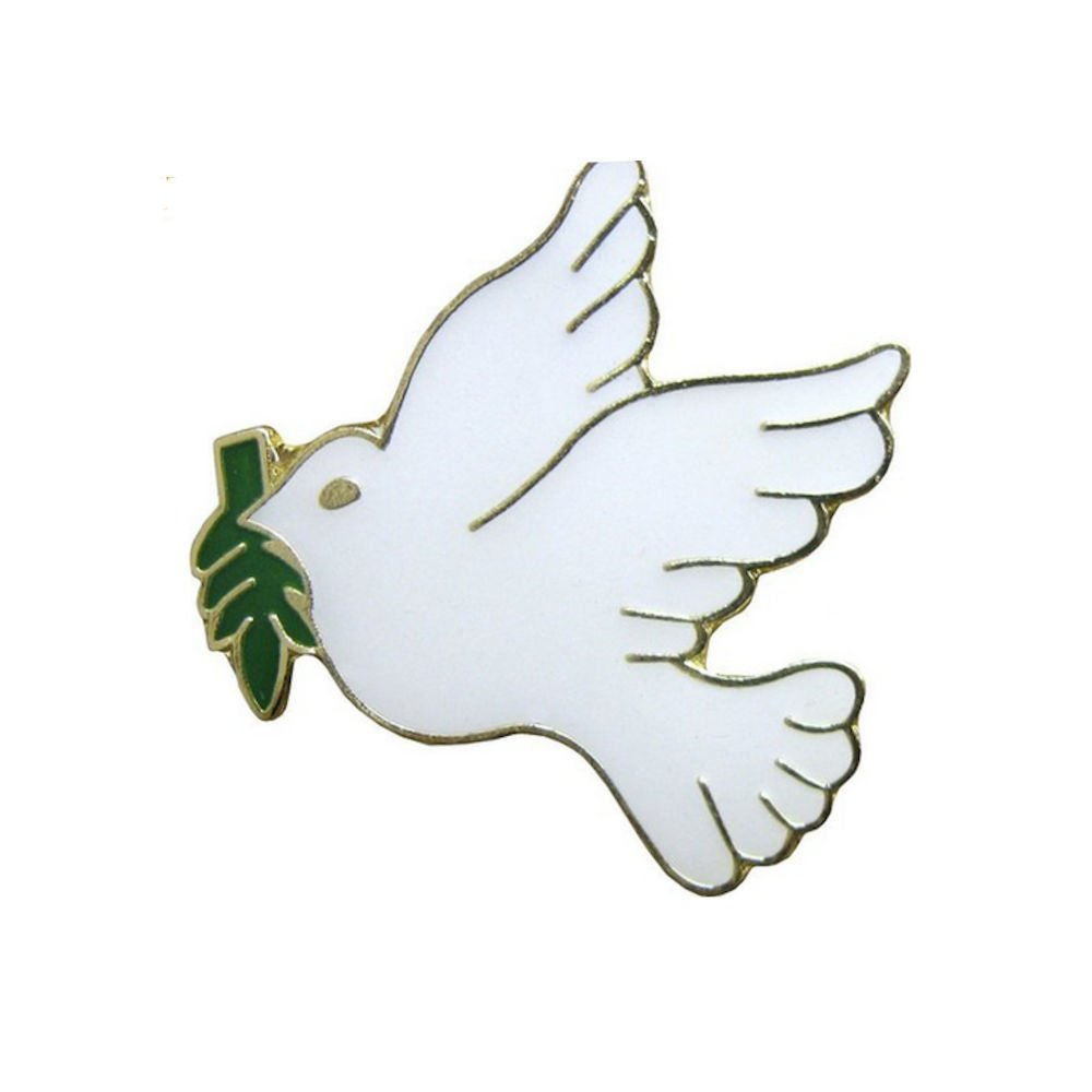 White Dove with Olive Branch Lapel Pin (Pkg of 12) Peace Dove by Sterling Gifts