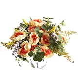 Artfen 3 Bouquet Country Style Artificial Tea Rose Fake Camellia Lu Lotus Flower Bouquet Party Home Decor Approx 11.5'' High Champagne