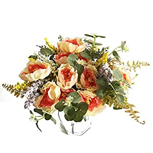 Artfen 3 Bouquet Country Style Artificial Tea Rose Fake Camellia Lu Lotus Flower Bouquet Party Home Decor Approx 11.5'' High 79