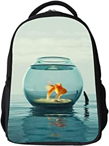 SARA NELL Kids School Bag Goldfish Tour in Fish Tank Shark Horn Boys Girls Backpack Bookbag for Elementary Students
