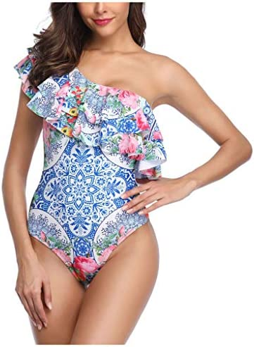 Outeck Swimsuit Women Ethnic Floral Print One Shoulder Tummy Control Bathing Suit One Piece Swimwear 2DF / Outeck Swimsuit Women Ethnic Floral Print One Shoulder Tummy Control Bathing Suit One Piece Swimwear 2DF