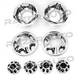 08-10 Chevy Silverado 3500 Dually & 08-10 GMC Sierra 3500 Dually ONLY Chrome 17'' Wheel Simulator Liner + Center Caps Cover 8pcs Set (Chrome)