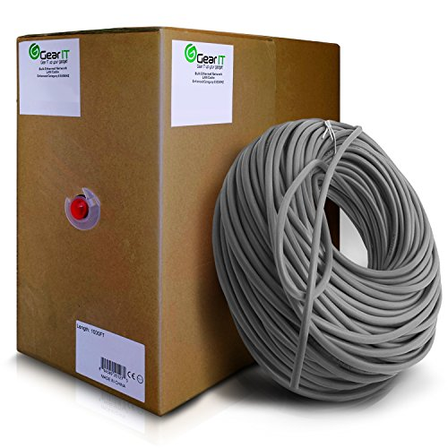 GearIt Cat5e Ethernet Cable Bulk 1000 Feet - Cat 5e 350Mhz 24AWG Full Copper Wire UTP Pull Box - In-Wall Rated (CM) SOLID Cat5e, Gray by GearIT