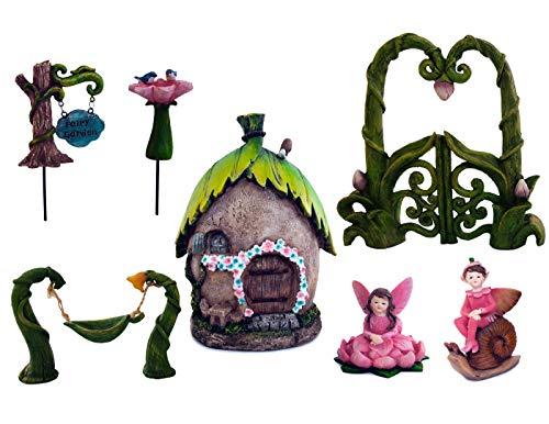 7 Piece Magical Fairy Garden Set Includes: Enchanted Garden gate, Fairy House, 2 Fairies, Fairy Garden Sign, Bird Bath and Swing. ()
