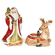 Fitz and Floyd Damask Holiday Collection Salt and Pepper Shaker Set, Vintage Red & Gold