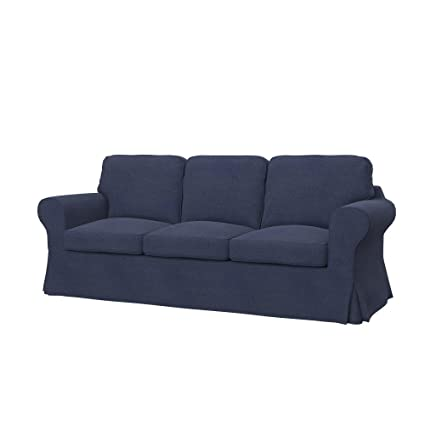 Soferia - Replacement Cover for IKEA EKTORP 3-seat Sofa, Naturel Navy Blue