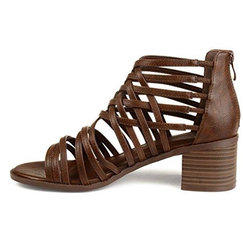 Brinley Co Womens Deyona Faux Leather Caged Criss-Cross Heeled Sandals Brown kEdBdYrsx