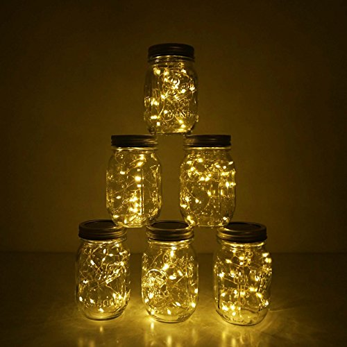 6 Pack Mason Jar Lights 10 LED Solar Warm White Fairy String Lights Lids Insert for Patio Yard Garden Party Wedding Christmas Decorative Lighting Fit for Regular Mouth Jars(Jars Not Included) by Decem (Image #5)