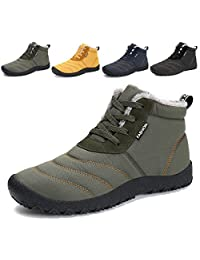 ALSYIQI Mens Womens Outdoor Boots Ankle Sneakers Waterproof Non-slip Winter Shoes Fur Lining Snow Boots