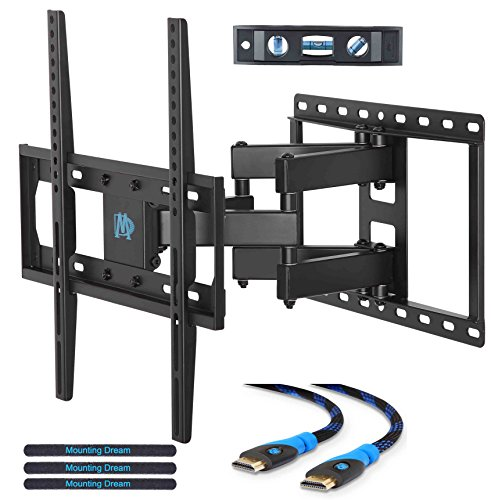 Mounting Dream MD2380 TV Wall Mount Bracket for most 26-55 Inch LED, LCD, OLED and Plasma Flat Screen TV, with Full Motion Swivel Articulating Dual Arms, up to VESA 400x400mm and 99 LBS with Tilting (Tv-mounts)