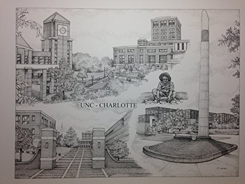 University of North Carolina at Charlotte 14''x18'' pen and ink collage print by Campus Scenes