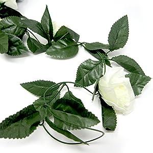 Homeford Artificial Rose Silk Flower Vine Garland, Ivory, 78-Inch 2